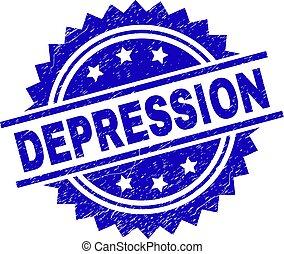 gratté, timbre, textured, dépression, cachet