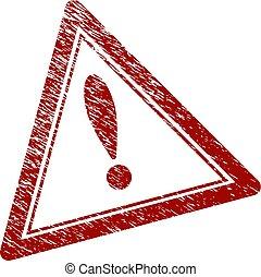 gratté, triangle, timbre, textured, avertissement, cachet