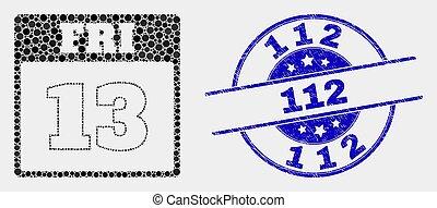 gratté, watermark, vendredi, 13e, vecteur, 112, calendrier, page, point, icône