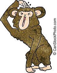 grattant tête, chimpanzé, dessin animé