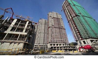gratte-ciel, mouvement, site, mélangeur, chargeur, béton, construction