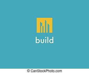 gratte-ciel, signe, logo, créatif, résumé, intérieur, construction, compagnie, silhouette, carrée