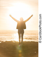 gratuite, apprécier, liberté, sunset., femme, plage