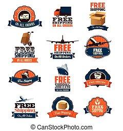 gratuite, expédition, icônes