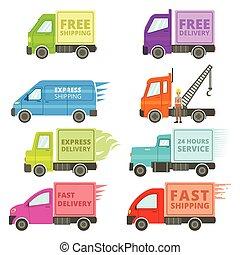 gratuite, jeûne, camions, illustration, expédition, signes, ou