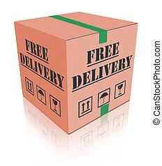 gratuite, livraison paquet, boîte, carboard