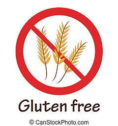 gratuite, symbole, gluten