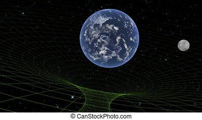 gravitational, numérique, étoilé, mondiale, lune, space., noir, profond, la terre, champ, trou