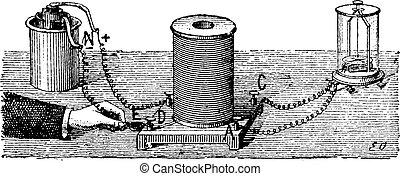 gravure, électromagnétique, induction, vendange