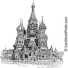gravure, basil's, saint, vendange, moscou, cathédrale, russie