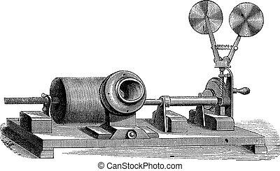 gravure, c, m, -, rouage horloge, vendange, bouche, phonographe, cylindre