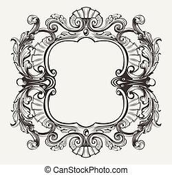 gravure, cadre, courbes, élégant, orné, baroque