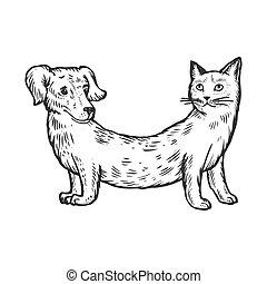 gravure, chien, illustration, chat, vecteur, animal, faux
