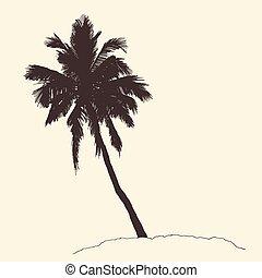 gravure, croquis, vendange, arbre, vecteur, paume, générosité