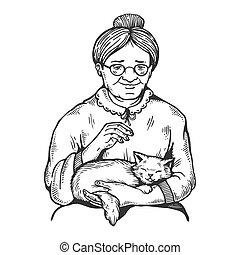 gravure, femme, vieux, illustration, chat, vecteur