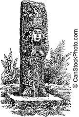 gravure, honduras, monolithe, copan, vendange
