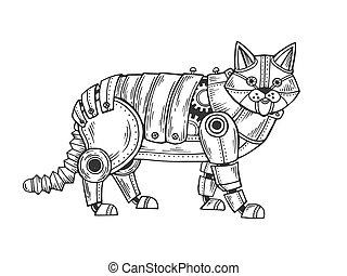 gravure, mécanique, vecteur, animal, chat
