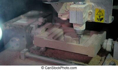 gravure, moudre, travail, machine, cnc, pendant