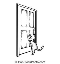 gravure, vecteur, porte, illustration, chat