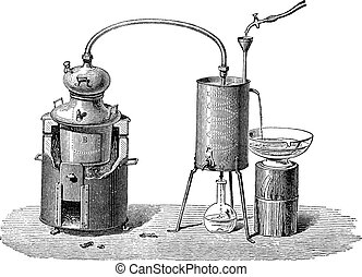 gravure, vendange, appareil, distillation, encore, ou