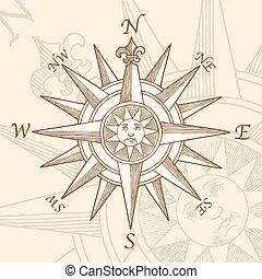 gravure, vendange, rose compas