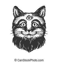 gravure, yeux, illustration., égratignure, style, trois, imitation., vecteur, planche, croquis, main, dessiné, chat, image.