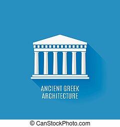 grec, ancien, architecture, icône