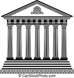 grec, seconde, stencil, variante, temple