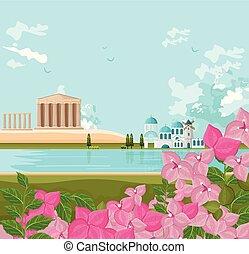 grec, vecteur, arrière-plans, architecture, paysage