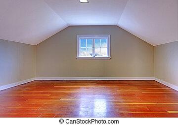 grenier, bois dur, petit, salle, plancher