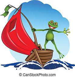 grenouille, bateau