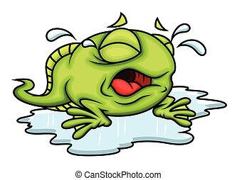 grenouille, dessin animé, pleurer