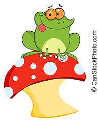 grenouille, toadstool, arbre