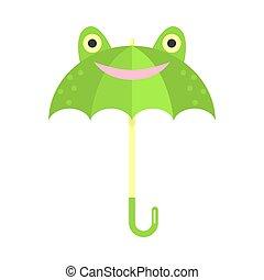 grenouille, vecteur, vert, illustration, animal, parapluie, face souriant