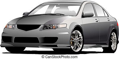 (grey), vecteur, gris, sedan, voiture, illustration, road.
