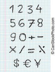 gribouiller, papier, carré, nombres