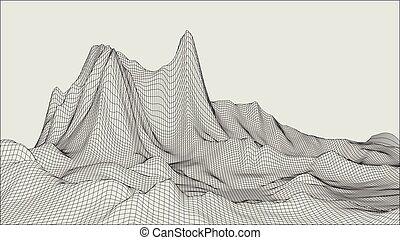 grid., paysage abstrait, cyberespace, vecteur, 3d, arrière-plan., illustration., technologie