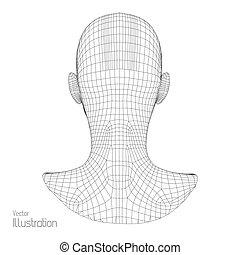 grid., scanning., géométrique, tête, skin., polygone, vue, personne, figure, couverture, humain, polygonal, fil, 3d, design., model.