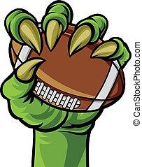 griffe, monstre, football avoirs, main, balle