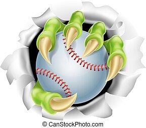 griffe, rupture, base-ball, fond, balle, dehors