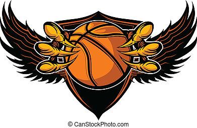 griffes, vecteur, basket-ball, serres, aigle, illustration