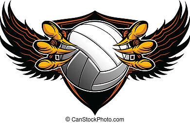 griffes, vecteur, volley-ball, serres, aigle, illustration