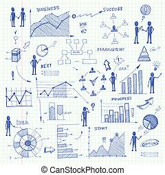 griffonnage, éléments, diagrammes, business, infographics