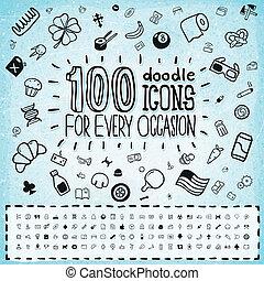 griffonnage, 100, vecteur, icônes