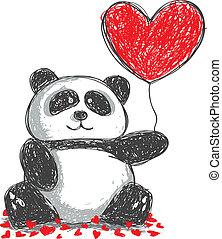 griffonnage, amour, panda, ballon