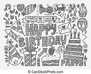 griffonnage, anniversaire, patt, fête, seamless