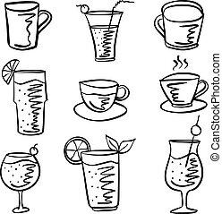 griffonnage, boisson, ensemble, collection, stockage
