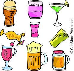 griffonnage, boisson, ensemble, divers