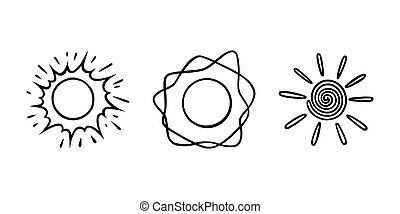 griffonnage, briller, style., illustration, croquis, handdrawn, set., rayons, soleils, vecteur, noir, blanc