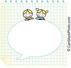 griffonnage, bulle, enfants, vide, parole, école, bloc-notes